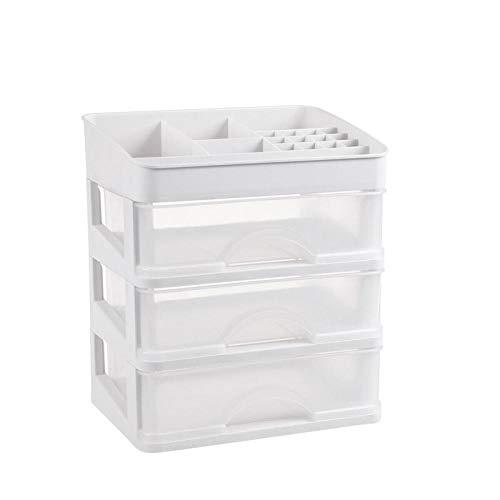 DJHYT Kosmetik Aufbewahrungsbox Desktop Finishing Box Kommode staubdichte Rack Schublade Hautpflegeprodukt Aufbewahrungsbox-Weiß DREI Schichten