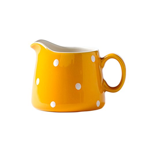 CHOOLD Polka Dot Ceramic Creamer with Handle,Coffee Milk Creamer Pitcher /Serving Pitcher/Sauce Pitcher/ Milk Creamer Jug for Kitchen 8.5oz