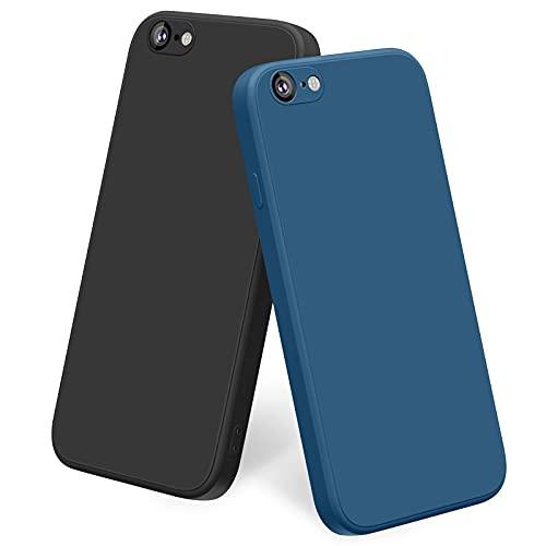 Yisica [2 Pezzi] Cover per iPhone 6   iPhone 6s Custodia Silicone Liquido Ultra Sottile, TPU Cover Protettiva Completa Antiurto con Fodera in Microfibra Anti-Graffio (Nero + Blu Navy)