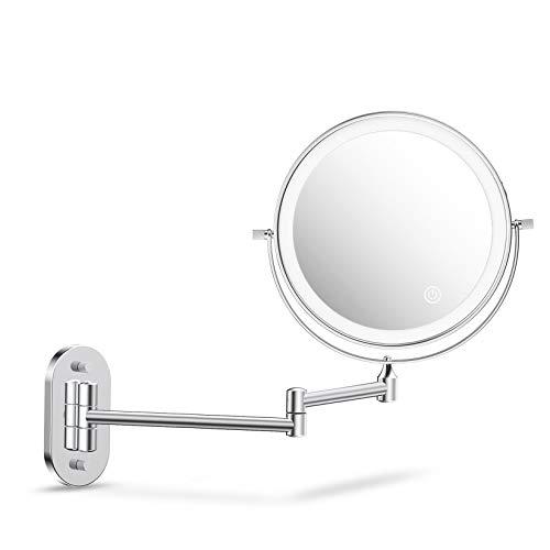 alvorog Specchio Trucco con Luce LED, Specchio Ingranditore 1x/5x a 36 LED con 3 Colori di Luci, Specchio Parete con Luce Regolabile e Rotazione a 360°, 8