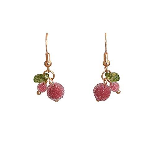VIQNJ Red Rabberry Fruit Sands, Pearl Japan, Lindos Pendientes de Frutas, Sweet Bremen Eared-Raspberry Red Spiral Clip