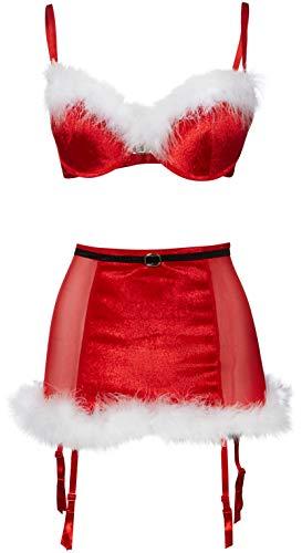 Dreamgirl Women's Lingerie Red Velvet Santa-Themed Bra and Garter Skirt Set - XL