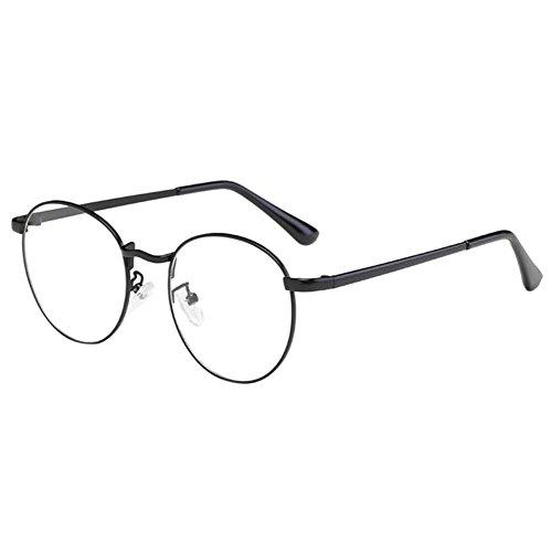 Zhuhaixmy Zhuhaixmy Unisex Klassisch Metall Runden Felge Komfortabel Brille Kurzsichtig Kurzsichtigkeit Brillen Harz Löschen Linsen (Stärke -2.0, Schwarz) (Diese sind nicht Lesen Brille)