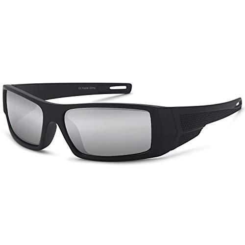 Gamma Ray polarizado Wrap Around Deporte Gafas de Sol con Resistente Nailon Marco–Elegir su Color, Black Frame Silver Mirror Lens