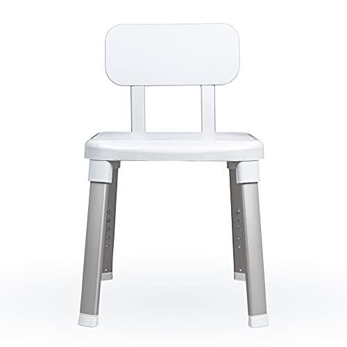 Weinberger Design Duschhocker für Senioren mit Rückenlehne, rutschfeste Füße, höhenverstellbar, bis 150 kg, Duschstuhl, Duschsitz, Badhocker/Modell: 43906