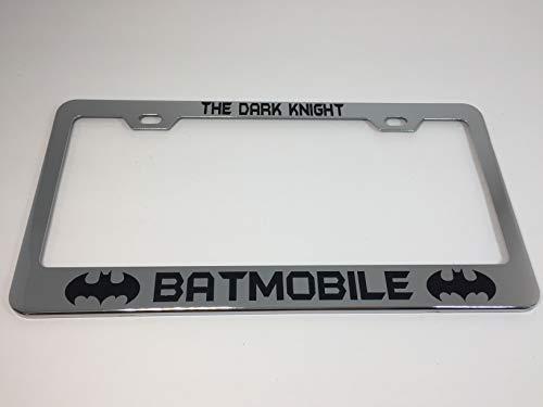 KuraSpeed Batman The Dark Knight Batmobile w/Bat Logos Stainless Steel Mirror Chrome Metal License Plate Frame with Screw Caps