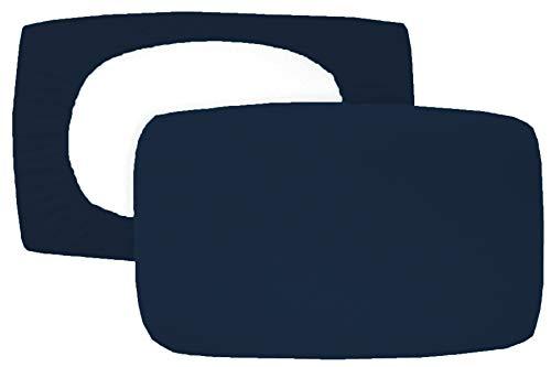 Home Edition 2er Pack Spannbezug für Nackenstützkissen Baumwolljersey (mit Elasthan) 36x50 bis 36x60 cm (Dunkelblau)