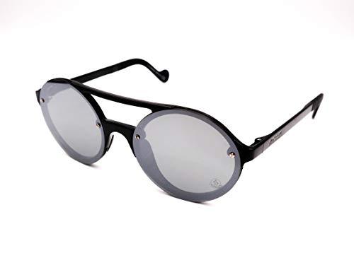 Moncler ML0064 01C 53 Gafas de sol, Negro (Nero Lucido/Fumo Specchiato), Unisex Adulto