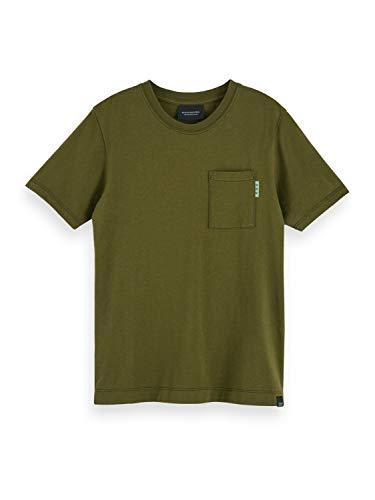 Scotch & Soda Shrunk Boys Fabric Dyed Pocket Tee T-Shirt, Military Green 0154, 12