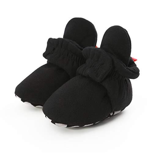 EDOTON Unisex Neugeborenes Schneestiefel Weiche Sohlen Streifen Bootie Kleinkind Stiefel Niedlich Stiefel Socke Einstellbar (6-12 Monate, D_ Schwarz)
