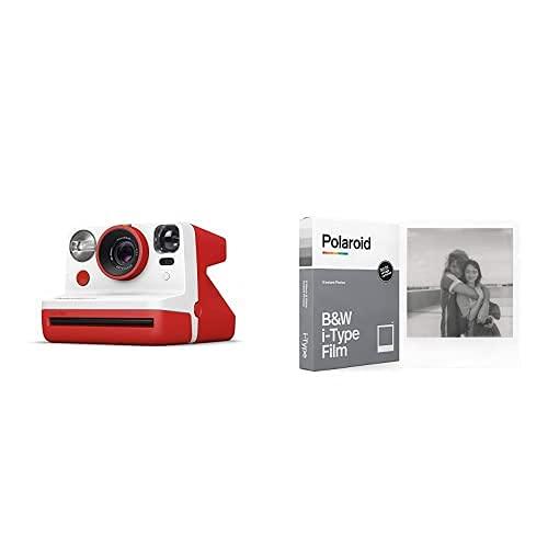 Polaroid - 9032 - Polaroid Now Fotocamera Istantanea i-Type, Rosso + 6001 - Pellicola Istantanea Nero e Bianco per i-Type