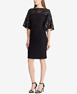 RALPH LAUREN Womens Black Embellished Jersey Bell Sleeve Boat Neck Above The Knee Sheath Cocktail Dress US Size: 8