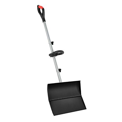"""ORIENTOOLS Snow Shovel with Ergonomic Handle Grips, Easier Installation, Strain-Reducing Pusher Perfect for Shoveling or Pushing Snow, Soils and Grains. (20"""" Blade)"""