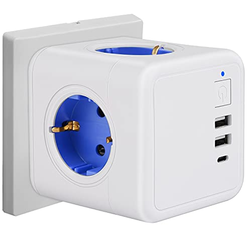 USB Steckdose Würfel Steckdosenleiste 3 Fach Überspannungsschutz mit Schalter, 1 Typ-C, 2 USB Ladegerät (3A), 7-in-1 Steckdosenadapter für Büro, Hause und Reisen, Ohne Kabel