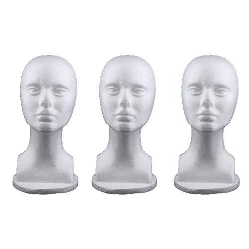 freneci 3X Woman Female Styrofoam Foam Mannequin Head F/Salon Wigs Glasses Display