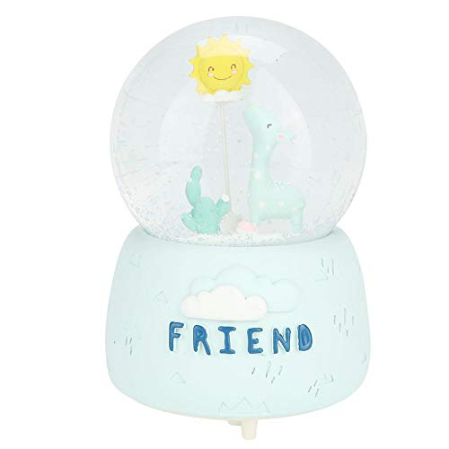 Zerodis Glas Schneekugel, Schneekugel Kinder Schöne Cartoon Giraffe und Sun Music Kristallkugel Spieluhr mit Licht Home Decoration Geschenk(02)