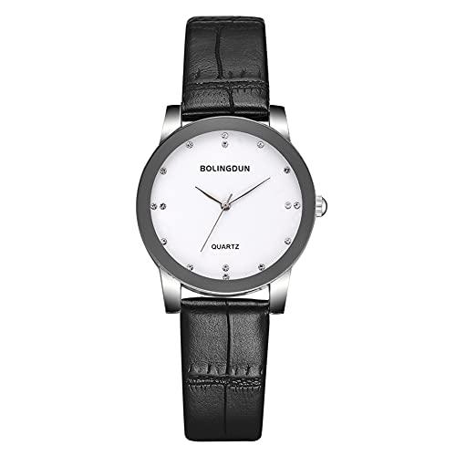 SUYANG Rhinestone Scale Watch PU Strap Watch PU Correa Cuarzo Reloj Hombres Mujeres Rhinestone Scale Business Cuarzo Reloj Negro PU Correa De Cuero T227-a (Blanco, S)