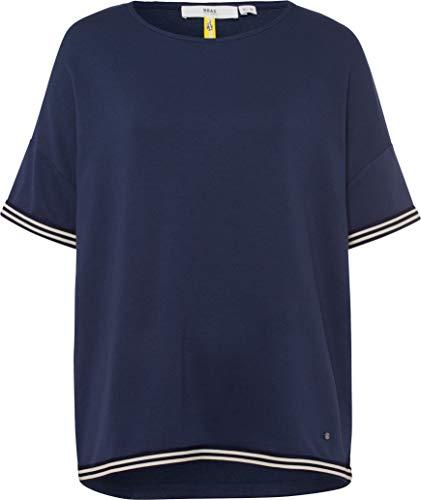 BRAX Damen Style Rachel Viscose Modal Kurzarm Uni Pullover, Navy, XL