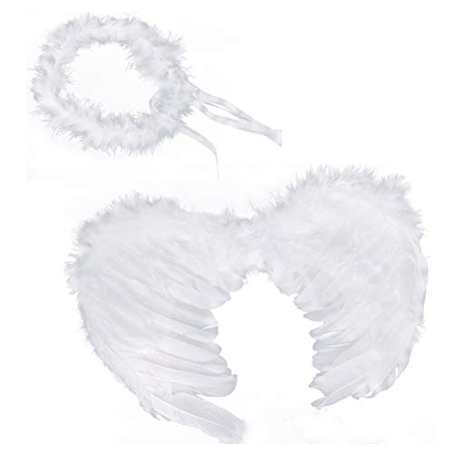 RUIZSH Angel Feather Wings and Halo Headband for Cosplay, Party Costumes
