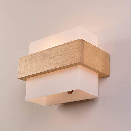 Houten wandlamp E27 houten wandlamp retro glas voor woonkamer slaapkamer binnendecoratie nachtkastje (A)