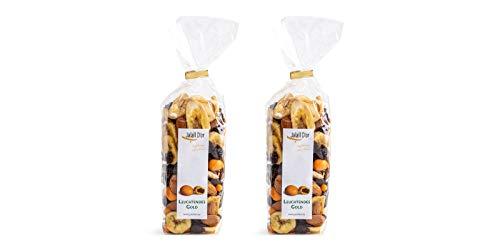 Nuss-Frucht-Mix bio 2x 250 g mit Cranberries Mandeln Bananen Schokorosinen LEUCHTENDES GOLD