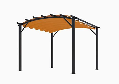 Habrita Pergola Structure Mixte 11,22 m2 - Toile Couleur Rouille