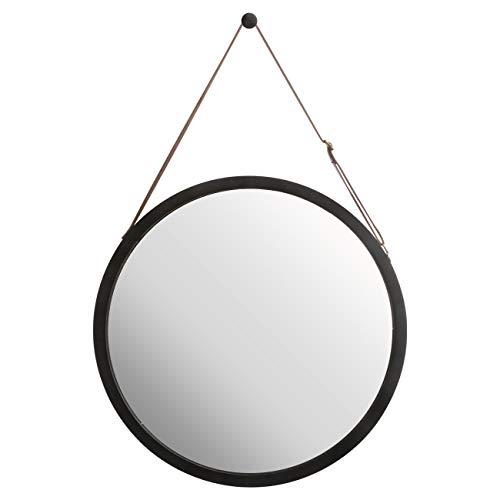 ZRI Bamboo Wandspiegel Rund Flur Spiegel Badspiegel mit Verstellbarer Lederband (schwarz, 45 cm)