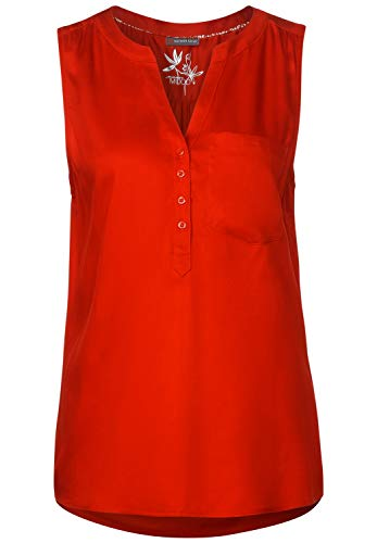 Street One 342061 Solid Blousetop W Splitneck Blouse, Cheeky Red, 46 Femme