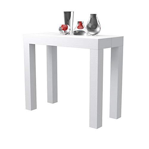 Tavolo consolle allungabile Nettuno in folding laminato - allungabile da 40 cm 300 cm, in 10 colorazioni legno - arredo cucina casa design (Bianco frassinato)
