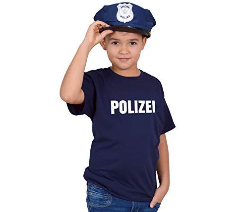 Alsino Polizei Kostüm Kinder T Shirt mit Polizeimütze Jungen Outfit Verkleidung Kostüm Fasching Karneval Geburtstag (Größe 128)