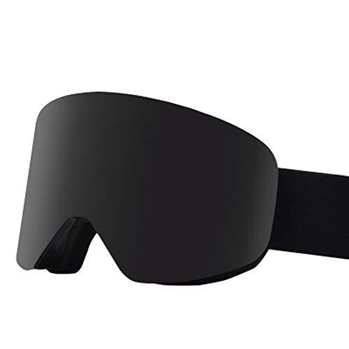 AUEDC Skibrille für Erwachsene, OTG Snowboardbrillen Ski Snowboard Goggles Magnetische Wechselobjektivwinddichtes Anti-Fog Anti-Glare für Männer & Frauen Outdoor Sports,Schwarz