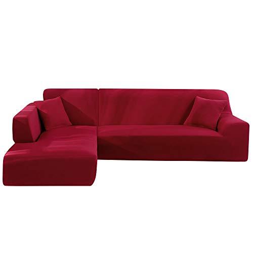 Enjoygoeu Copridivano con Penisola Elasticizzato a Forma di L Chaise Longue Sofa Cover Angolare Componibile Divano in Poliestere è Composto da 2 Pezzi,e con 2 Federe (Vino Rosso, 2 posti + 2 posti)