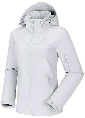 CAMEL CROWN Damen wasserdichte Wanderjacke Regenjacken Outdoor Funktionsjacke Full Zip mit Fleece-Futter, Winddichte Warmer Mantel Jacke mit Kapuze für Winterwandern Sports Freizeitjacke