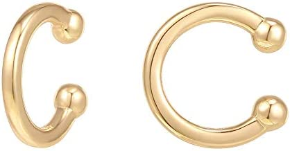 PAVOI 14K Gold Plated 925 Sterling Silver Classic Round Huggie Ear Cuff Earrings for Women in product image