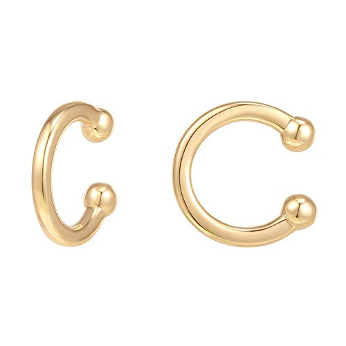 PAVOI 14K Gold Plated 925 Sterling Silver Classic Round Huggie Ear Cuff Earrings for Women in Yellow Gold