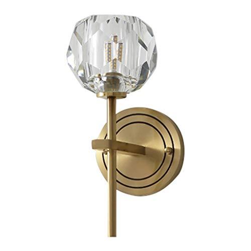 Lámparas de pared Sala de estar interior LED lámpara de pared Iluminación en el salón dormitorio de noche cristalina del pasillo del pasillo Lámpara de pared de fondo de cobre lámpara de pared Lámpara