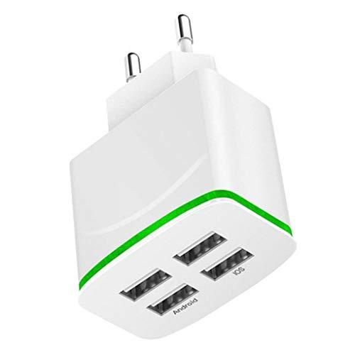 Vokmon Enchufe de la UE de 4 Puertos USB LED de luz del Cargador 5v Adaptador de Viaje Pared 2a del teléfono móvil Blanco Negro de Carga Cubo