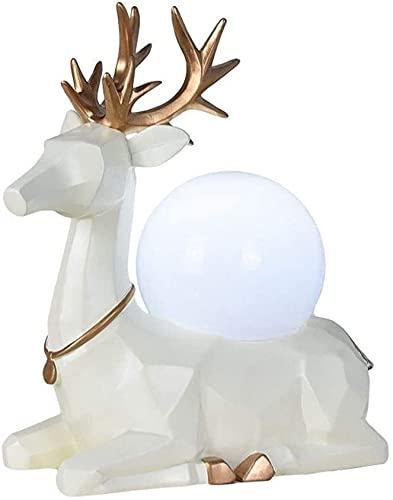 nakw88 Lámpara Escritorio Lámpara de Mesa de Ciervo de Resina, Sala de Estar Creativa, Dormitorio, Sala de Estudio, decoración, lámpara de Mesa con Personalidad (Blanco)