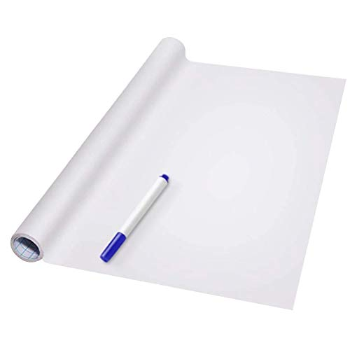 Syfinee Pad Dry Erase Whiteboard PVC Back Sticky White Board Roll Up Reusable Message Board Remind Memo Sticker Wall Decal Self-Adhesive White Board Peel Stick Paper for School Office Home Kids