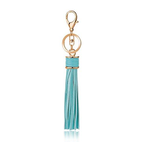 JOUDOO GJ004 Schlüsselanhänger mit Lederquasten, 20,3 cm, Hellblau