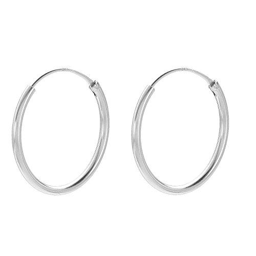 Creolen Damen Silbern - PERNILLE CORYDON runde Ohrringe 925er Sterling Silber - E141s