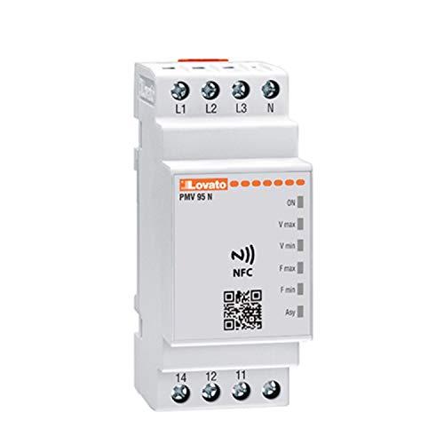 Relé de protección multifuncion voltimétrico y de frecuencia trifásica, con o sin neutro, NFC y APP 575V AC, 3,58 x 5,9 x 9,5 centímetros, color blanco (Referencia: PMV95NA575NFC)