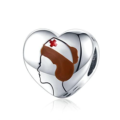 Damgåva 925 Sterlingsilverpärlor Sjuksköterska Hjärta Medicinsk Personal Charms Pärla Hängande Armband Halsband Pärlstav Diy Smycken