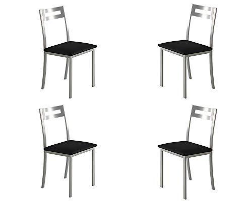 MOMMA HOME Set de 4 Sillas - Modelo PAMIS - Color Plata/Negro - Material Metal/Ecopiel - Medidas 41 x 47 x 86 cm
