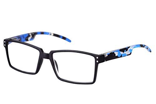 TBOC Gafas de Lectura Presbicia Vista Cansada – Graduadas +2.50 Dioptrías Montura Negra Patillas Camuflaje Azul de Diseño Moda para Hombre Mujer Unisex Lentes de Aumento para Leer Ver de Cerca
