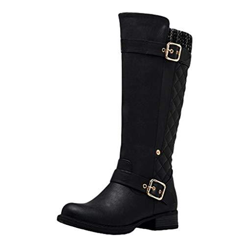 DOLDOA Stiefel Damen,Stiefel Seitlicher Reißverschluss Kniehohe Reitstiefel Damenstiefel mit hohem Schlauch Schwarz, Grau, Braun
