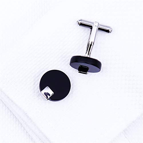 ZXJJY Shirt Cufflink for Mens Brand Black Cuff Link Wholesale Button Round Luxury Wedding Male Guests (Color : Black)