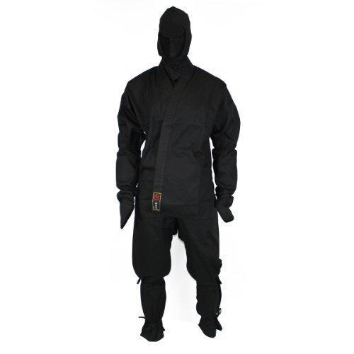 DerShogun Schwarzer Ninjaanzug aus 100% Baumwolle mit Zubehör Größe 190