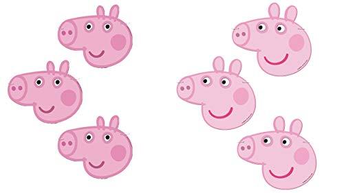 ALMACENESADAN 0914; Pack 6 caretas Peppa Pig; Ideal para Fiestas y cumpleaños; Producto de cartón