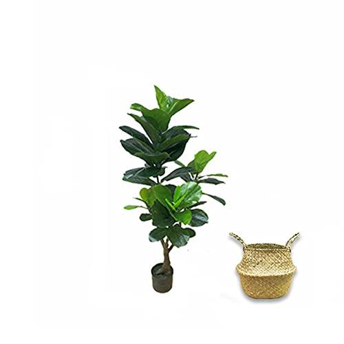 Árbol bonsai artificial 47 pulgadas Firso Fiddle hoja higuera, árbol falso artificial con cesta tejida, árboles artificiales utilizados para arreglos de la fiesta de la fiesta decoraciones de boda Dec